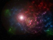Universum fyllde med stjärnor, nebulosan och galaxen royaltyfri illustrationer