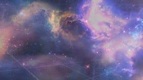 Universum fyllde med stjärnor, nebulosan och galaxen Nebulosa och galaxer i utrymme Vintergatan- och rosa färgljus på berg Fotografering för Bildbyråer