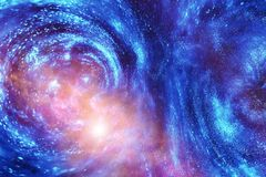 Universum i en avlägsen galax med nebulosor och stjärnor royaltyfria foton