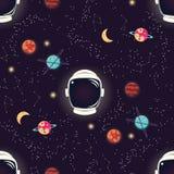 Universum mit Planeten, Sternen und nahtlosem Muster des Astronautensturzhelms, sternenklarer nächtlicher Himmel des Kosmos lizenzfreie abbildung