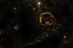 Universum und der unterbrochene Planet Stockfoto