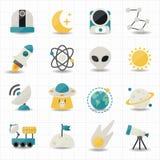 Universum- und Raumikonen Lizenzfreie Stockbilder