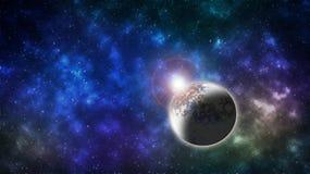 Universumet, stjärnor, nebulosor, galaxer, ljus, iskall planet Arkivfoton