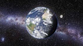 Universumet - zoom in i jord och månen vektor illustrationer