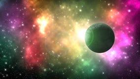 Universumgalax med många stjärnor och planet arkivbild