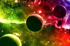 Universumgalaxienebelflecksterne und -planeten stock abbildung
