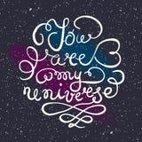 Universumhintergrund mit Hand gezeichnetem Typografieplakat romantisch Lizenzfreie Stockfotografie