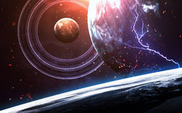 Universumszene mit Planeten, Sternen und Galaxien im Weltraum, der die Schönheit der Raumforschung zeigt elemente Lizenzfreie Stockfotografie