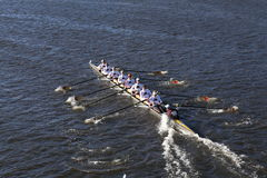 Univesity of Minnesota races in the Head of Charles Regatta Men's College Eights. BOSTON - OCTOBER 22, 2016: Univesity of Minnesota races in the Head of Charles Stock Photos