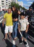 Univision Reporter, Vater und Sohn Stockbilder