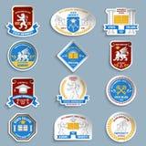 Uniwersyteccy odznaka piktogramy ustawiający Obraz Stock
