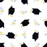 Uniwersytecka skalowanie nakr?tka Akademicki mortarboard z kitk? Ślimacznica wiążąca z faborku i absolwenta kapeluszowym bezszwow royalty ilustracja