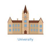 Uniwersytecki budynek na bielu royalty ilustracja