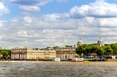 Uniwersytet Greenwich i Stary Królewski Morski kolaż od Rzecznego Thames, Londyn Obraz Stock