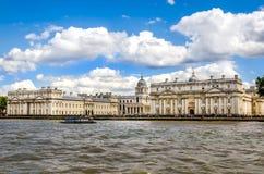 Uniwersytet Greenwich i Stary Królewski Morski kolaż od Rzecznego Thames, Londyn Obraz Royalty Free