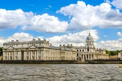 Uniwersytet Greenwich i Stary Królewski Morski kolaż od Rzecznego Thames, Londyn Fotografia Stock