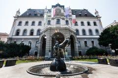 Uniwersytet Ljubljana główny budynek Kongresowy Kwadratowy Slovenia zdjęcie royalty free