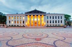 Uniwersytet Oslo, Norwegia przy nocą Zdjęcia Stock
