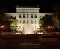 Uniwersytet Szeged przy noc zdjęcia stock
