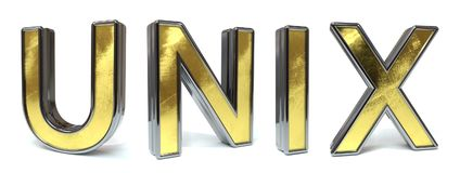 UNIX to golden text. UNIX to 3d rendered gold and silver color text on white Royalty Free Stock Photos
