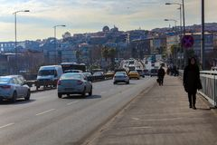 Unkapani Bridge & Traffic Cars & People Istanbul. Unkapani Bridge & Traffic Cars & Men and Women & Historic and Modern Buildings Istanbul, Turkey Stock Photos