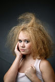 Unkempt funny woman Stock Image
