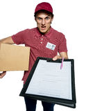 Unkind courier delivering parcel and requires subscribe Stock Image