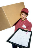 Unkind courier delivering parcel and requires subscribe Stock Photography