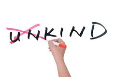 Unkind to kind. Conceptional word of from unkind to kind written on white board stock photo