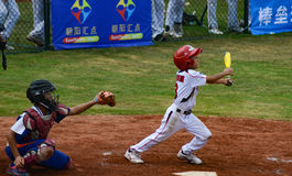 Unknown batter hit the ball in a baseball game Royalty Free Stock Photography
