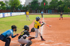 Unknown batter hitting the ball Royalty Free Stock Image