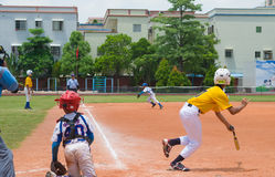 Unknown batter hitting the ball Royalty Free Stock Photo