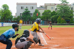 Unknown batter hitting the ball Royalty Free Stock Images