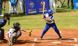 Unknown batter about to miss the ball in a baseball game Royalty Free Stock Photo