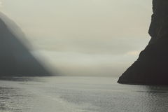 Unknown Beauty between. A subtle early morning image of the fjords in New Zealand South Islands Royalty Free Stock Photo