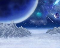 Unknown blue planet in the background of the icy mountains. stock illustration
