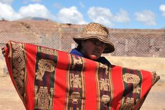 Unknown Bolivian woman from Tiahuanaco Stock Image