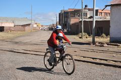 Unknown Bolivian woman from Tiahuanaco Stock Photography