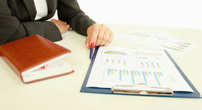 Unknown business woman with folder, isolated on Royalty Free Stock Photos