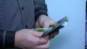 Unknown businessman counting money. Swiss frank. HD stock video