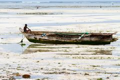 Unknown child on fishing boat in low tide. ZANZIBAR, TANZANIA - JANUARY 05: Unknown child on a fishing boat in low tide ocean on Paje beach, Zanzibar, Tanzania Royalty Free Stock Photography