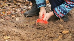Unknown child playing with sand in sandbox. Hands of unknown child digging and playing with sand in sandbox and learning how to make shapes in an amusement park stock video footage