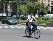 Unknown Citi bike rider in Manhattan Royalty Free Stock Photography