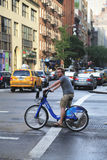 Unknown Citi bike rider in Manhattan Stock Images