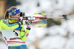 Unknown competitor in IBU Youth&Junior World Championships Biathlon Royalty Free Stock Photos