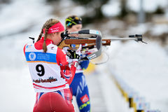 Unknown competitor in IBU Youth&Junior World Championships Biathlon Royalty Free Stock Photography