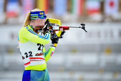 Unknown competitor in IBU Youth&Junior World Championships Biathlon Royalty Free Stock Image