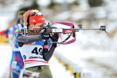Unknown competitor in IBU Youth&Junior World Championships Biathlon Royalty Free Stock Images