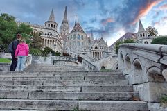 Unknown couplet at Fisherman's Bastion Royalty Free Stock Photos