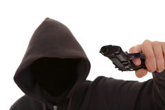 Unknown dangerous attacker with a gun Royalty Free Stock Photography